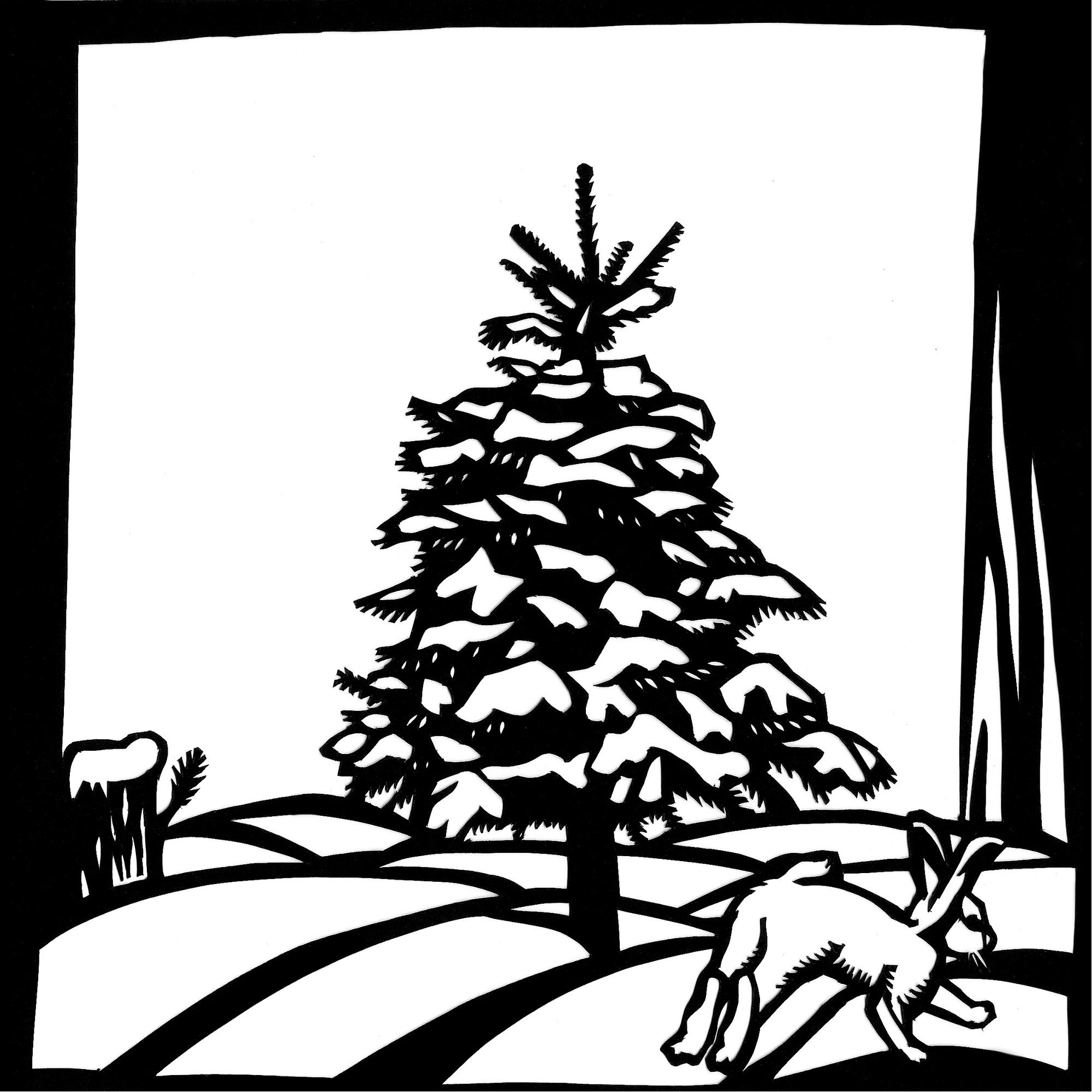 The Little Fir Tree- Cut paper illustration