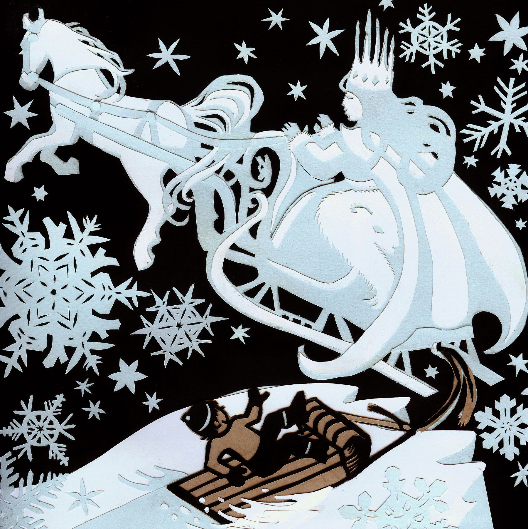 "The Snow Queen's Sleigh- Cut paper illustration for part 2 of ""The Snow Queen"" by Hans Christian Andersen"