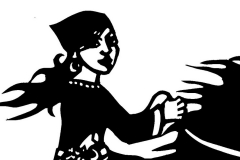 """The Robber Girl- Cut paper illustration for part 5 of """"The Snow Queen"""" by Hans Christian Andersen"""