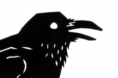 "The Crow- Cut paper illustration for part 4 of ""The Snow Queen"" by Hans Christian Andersen"