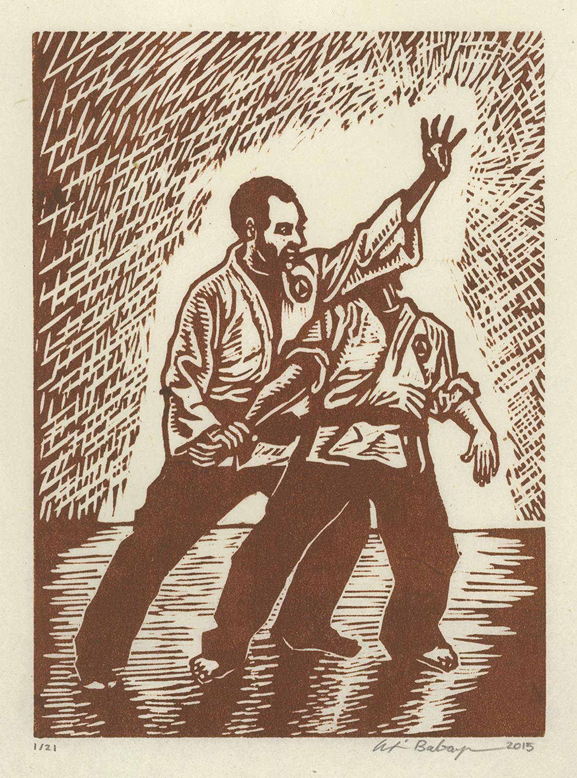 untitled (jujutsu 1) woodcut print 2015