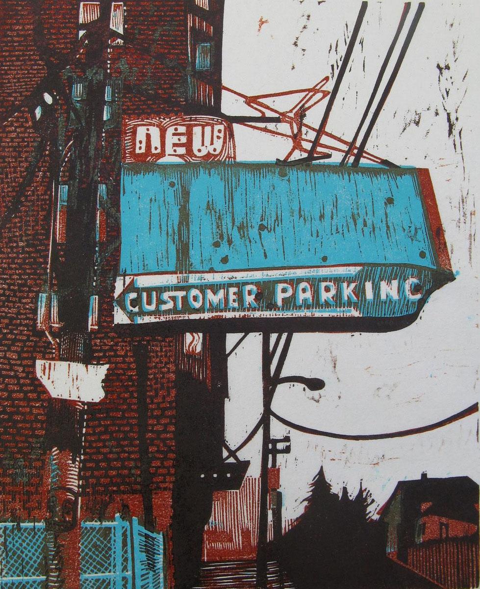Customer Parking woodcut print 2009