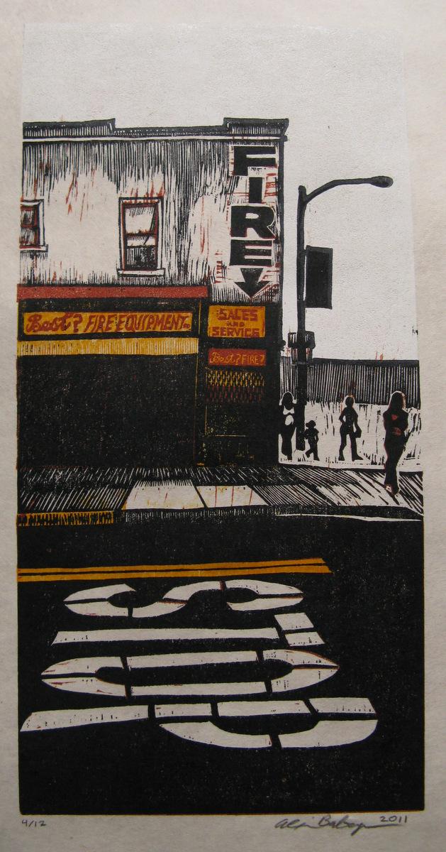 Best Fire woodcut print 2011