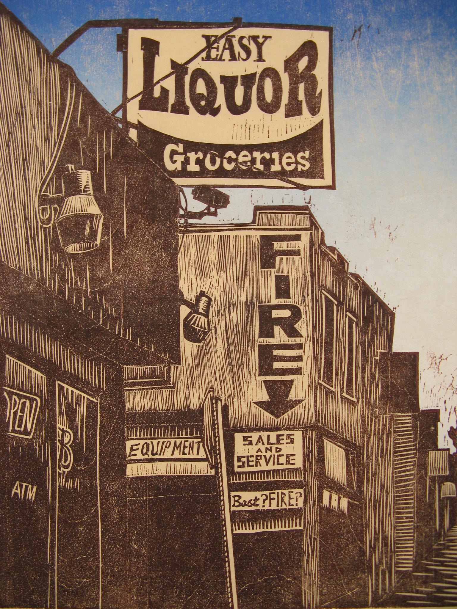 Best Fire/ Easy Liquor woodcut print 2011