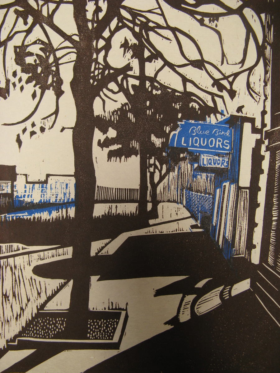 Blue Bird Liquors woodcut and linocut print 2010