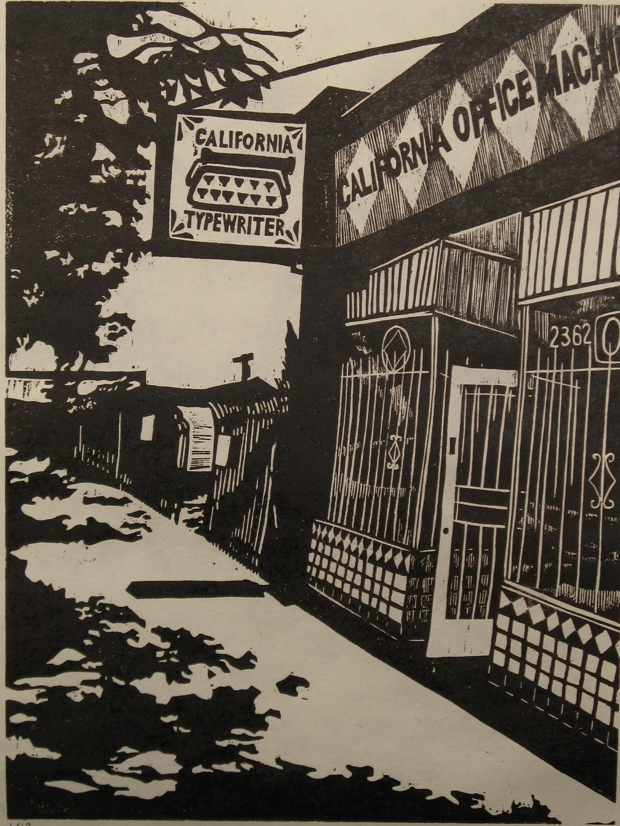California Typewriter woodcut print 2014