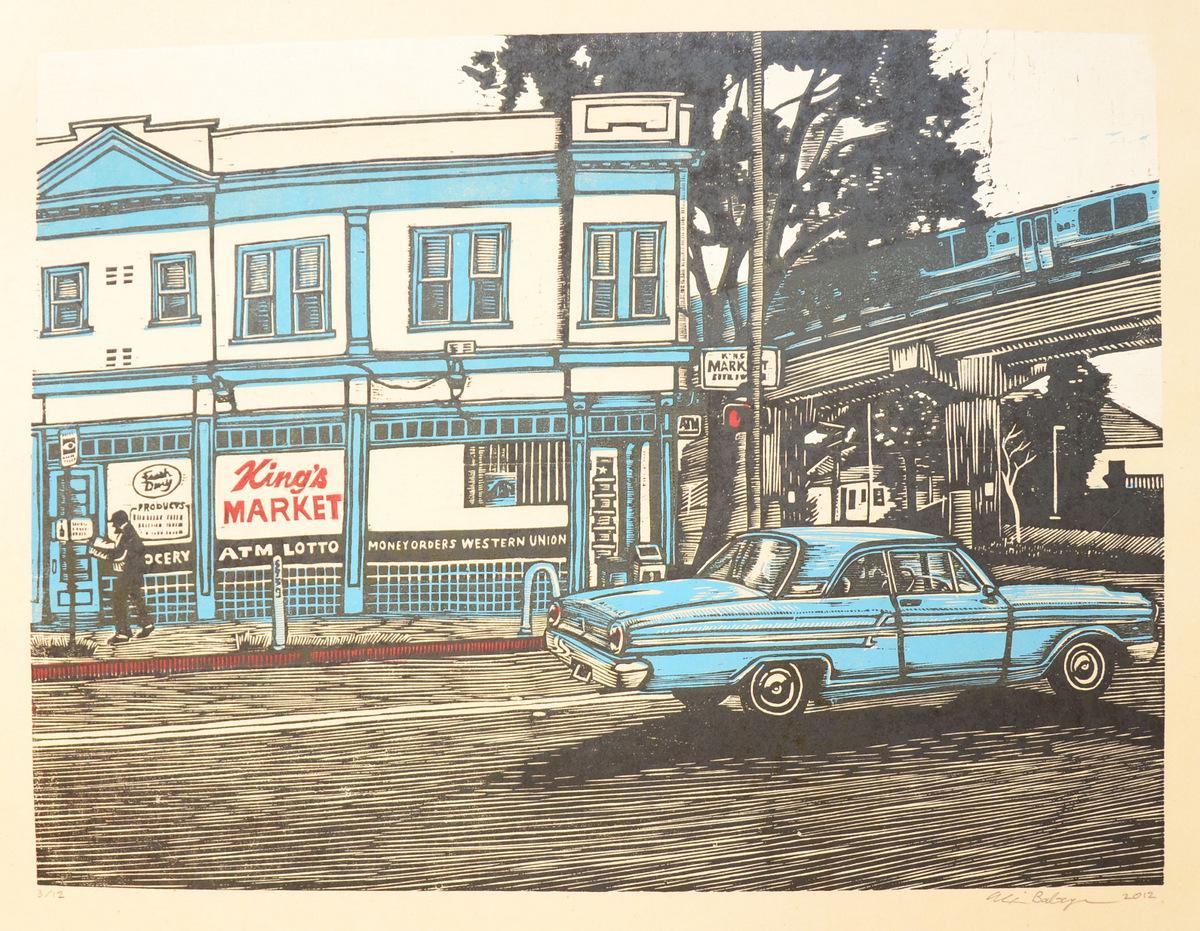 King's Market woodcut print 2012