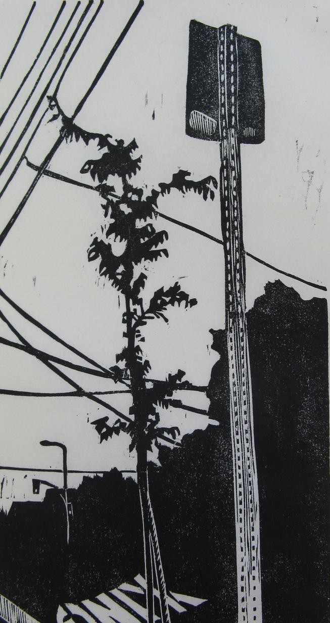 Little Tree 2 woodcut print 2009
