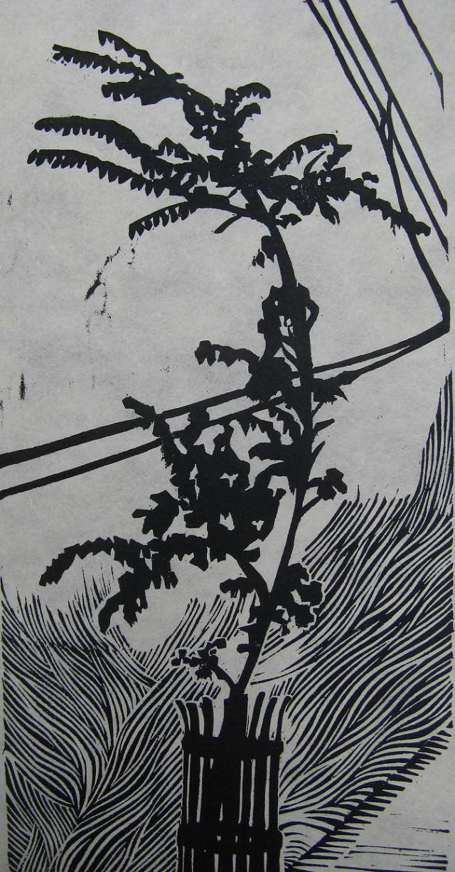 Little Tree 3 woodcut print 2009