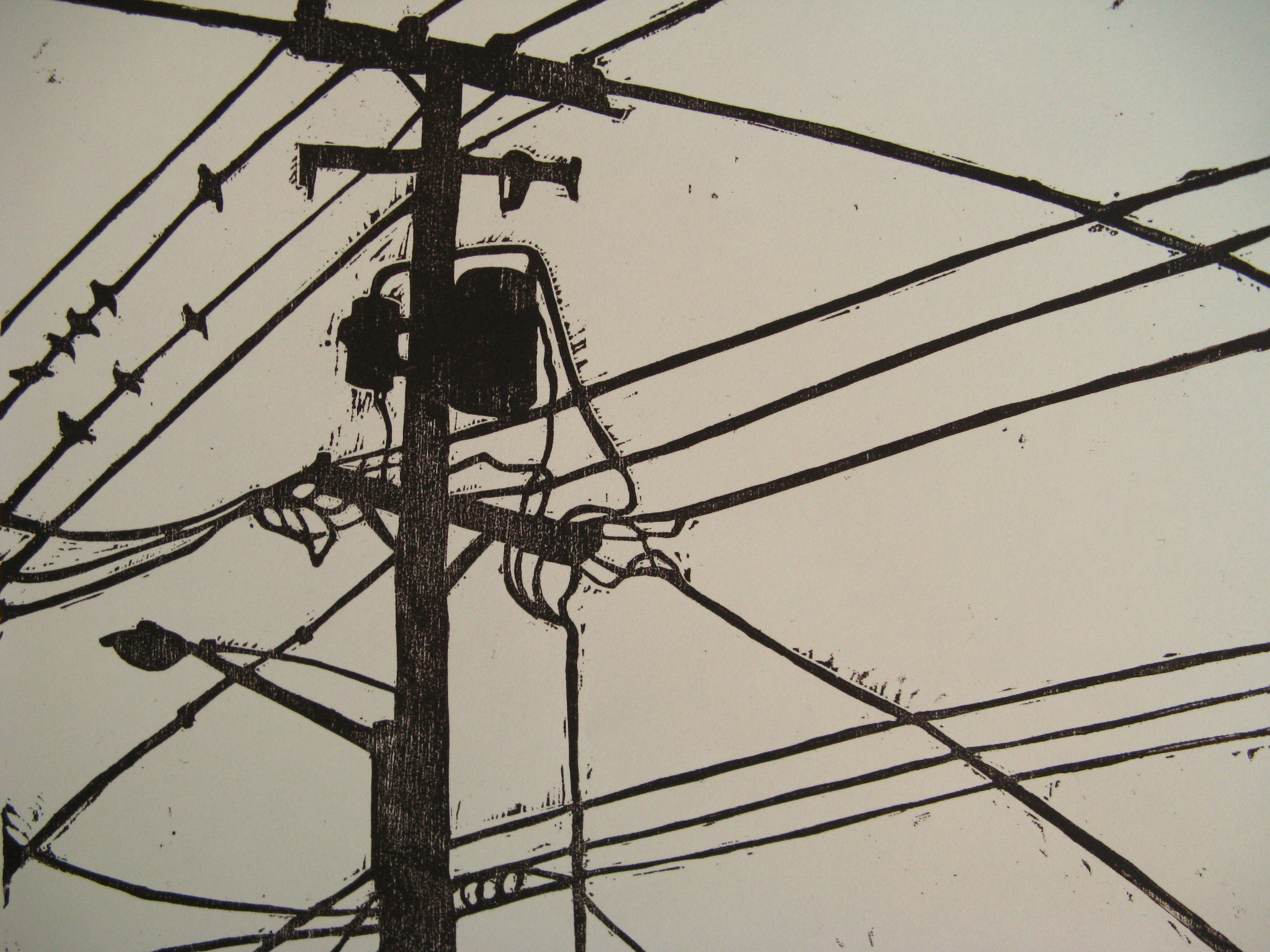 Power Lines woodcut print 2007