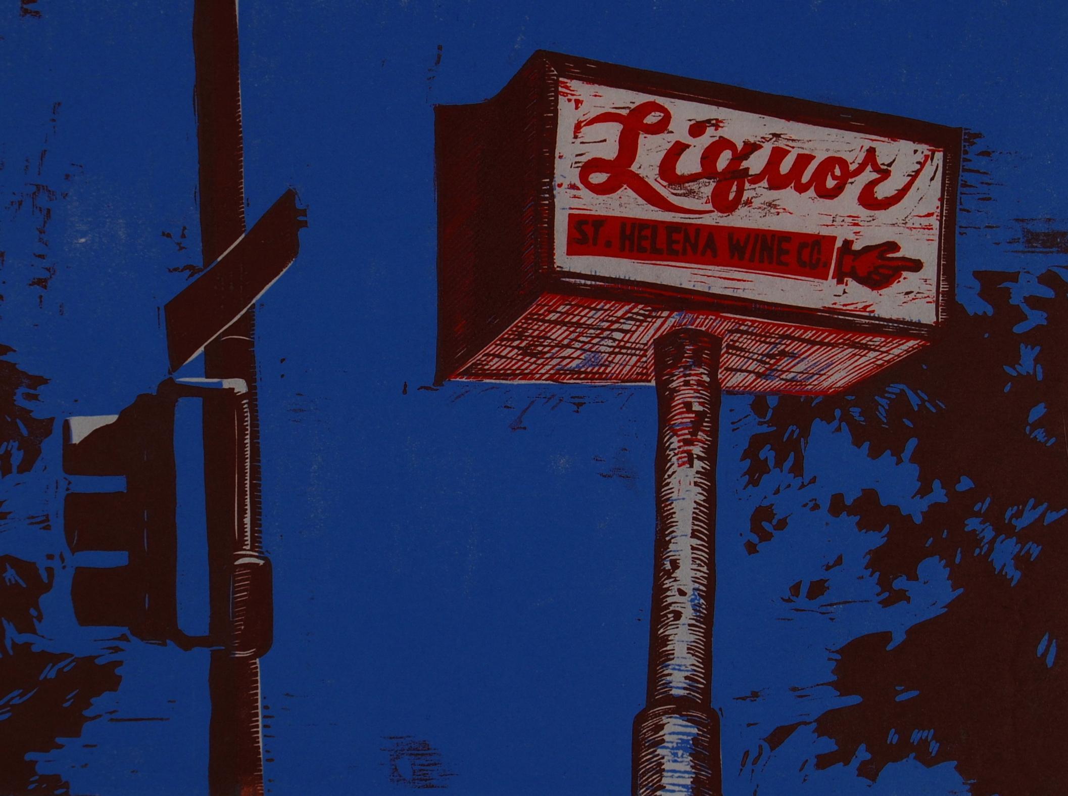 St. Helena Liquor woodcut print 2007