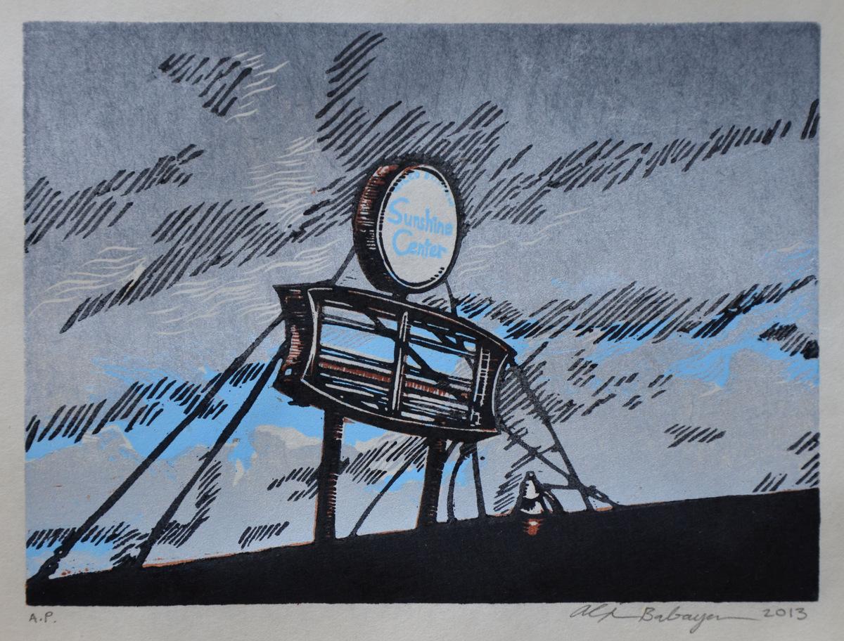 Sunshine Center woodcut and linocut print 2013