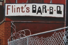 Flint's Bar-B-Q oil painting on paper 2013