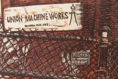 Union Machine Works woodcut and linocut print 2009
