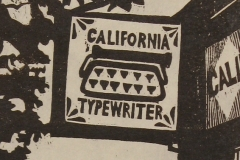 California Typewriter woodcut print 2014