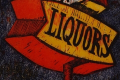 East Bay Liquors woodcut and linocut print 2008