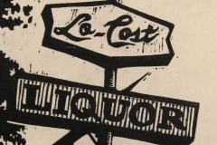 Lo-Cost Liquor woodcut print 2014
