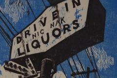 Nic Nak Liquors woodcut print 2007