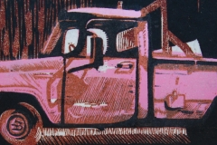 Pink Truck woodcut and linocut print 2010
