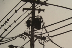 Power Lines woodcut print 2007