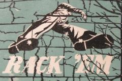 Rack 'Em woodcut print 2011