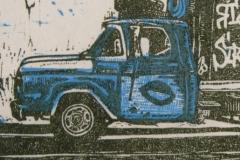 Blue Truck linocut print 2011