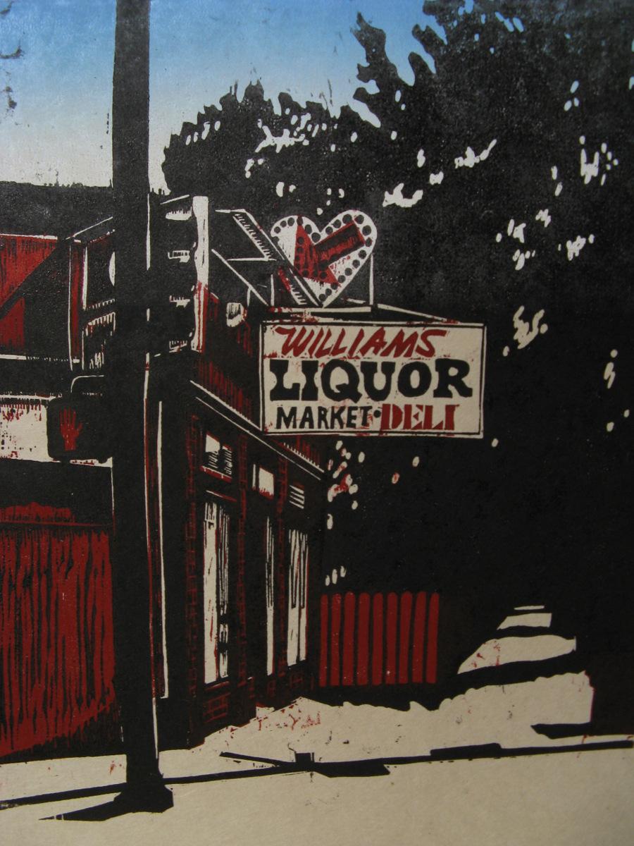Williams Liquors woodcut print 2010