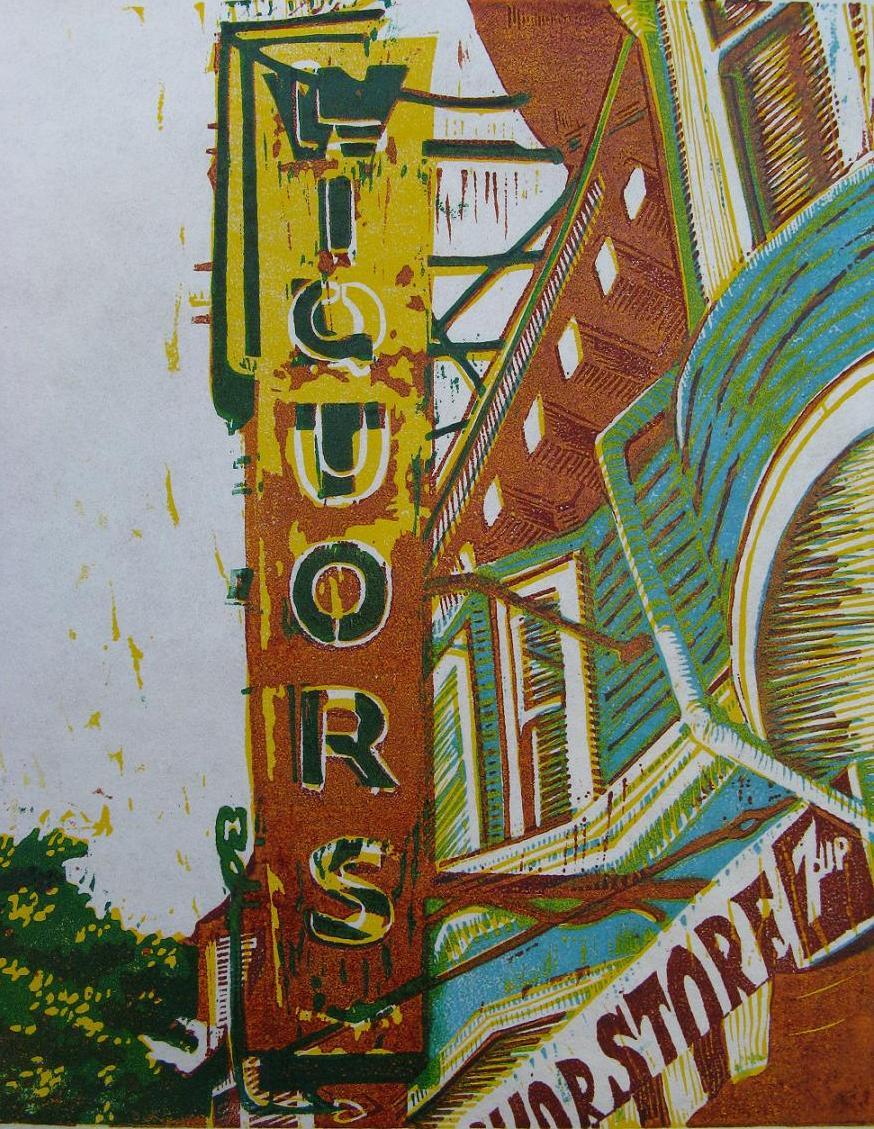 Wilton's Liquors woodcut print 2008